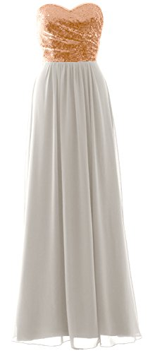 Elegant Formal Gown Gold Dress Party MACloth Bridesmaid Long Sequin Strapless Chiffon Ivory Rose OPRdqF