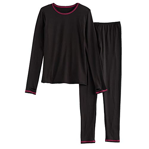 Girls Winter Base-Layer Thermal Underwear top and Bottom Set with Thumbhole, Black M (7-8) ()