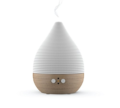 Teo Aroma Essential Oil Diffuser, Scent and Fragrance Aromatherapy Humidifier - Now with Handmade Ceramic, FSC Certified Beech Wood, Belgian modern Design, Timer, LED Light, Long Cord, Silent Fan
