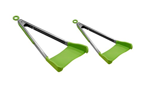 Allstar Innovations Clever Tongs 2 in 1 Kitchen Spatula Non-Stick, Heat Resistant, Stainless Steel Frame, Silicone and Dishwasher Safe, As Seen on TV, 2 Pack (Includes 1 Large And 1 Small)