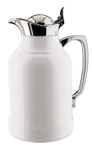 Alfi Opal White Lacquered Brass with Chrome Thermal Carafe, 8-Cup