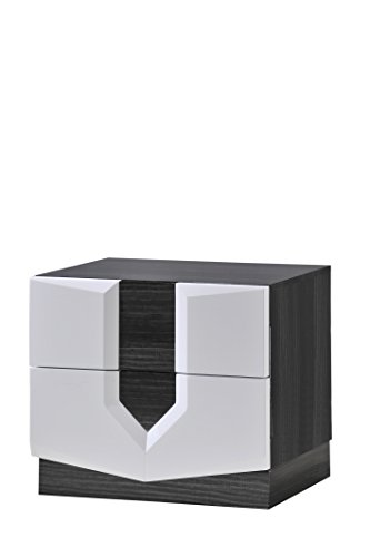 (Global Furniture Hudson Nightstand, Zebra Grey and White)