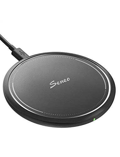 Wireless Charger, Seneo 10W Fast Qi Wireless Charging Pad, 7.5W Compatible iPhone Xs Max/Xs/XR/X/8/8P/New Airpods, 10W Compatible Galaxy S10/S9/Note 9 (QC3.0 Adapter is Needed, No AC Adapter)-Black
