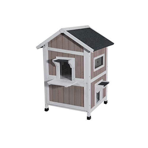 ROCKEVER Feral Cat Shelter Outdoor with Escape Door Rainproof Outside Cat House Two Story for Three-Four Cats Color Grey