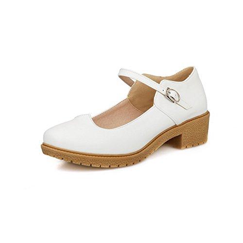Balamasa Jenter Chunky Hæler Spenne Plattform Imitert Skinn Pumper-sko Hvit