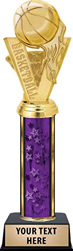Crown Awards Basketball Fireball Trophies, Personalized Purple Basketball Fireball Trophy with Custom Engraving Prime