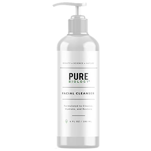 Pure Biology Facial Cleanser with Hyaluronic Acid Breakthrough Anti Aging Complex to Minimize Pores, Fill Deep Wrinkles Brighten Complexion for Men Women of All Skin Types, 6oz