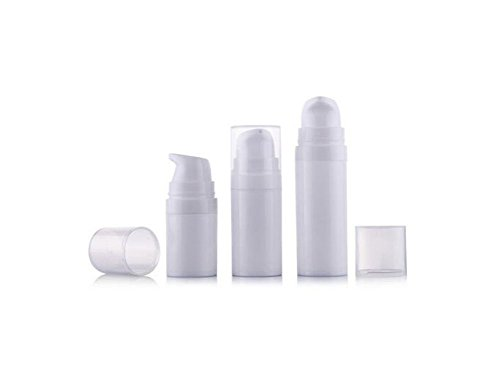 0.5 Ounce Square Glass (6Pcs 5ml/10ml/15ml White Empty Portable Refillable High-grade Plastic Airless Vacuum Pump Bottle Vial Travel Mini Bayonet Cream Lotion Toner Container Pot (15ml))