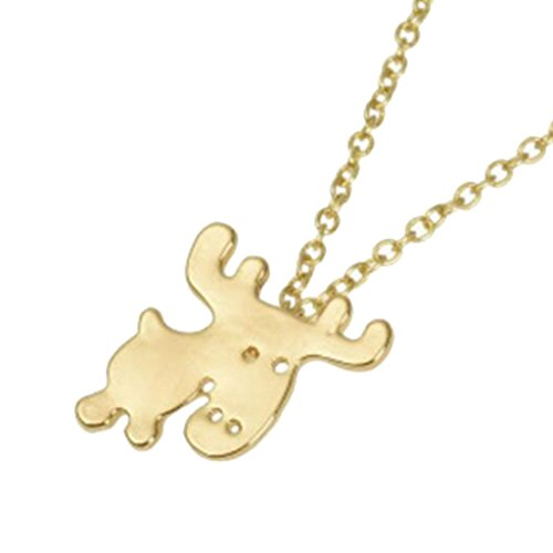 BFF Jewelry Cute Animal Deer Necklace Elk Reindeer Moose Pendant Necklaces Gold Plated Polished for Girls Women
