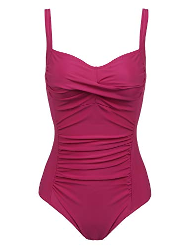 Joyaria Womens Twist Front Ruched One Piece Swimsuit Tummy Control Slimming Bathing Suit Retro Vintage Swimwear (Red,XL) ()
