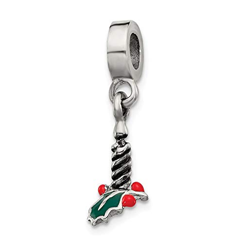 Sterling Silver Enamel Polished Reflections Candle With Holly Leaf Dangle Bead Charm
