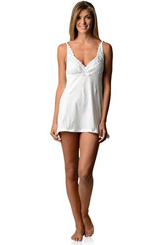 Casual Nights Women's Sleepwear Eyelet Lace Sweatheart Chemise Nightie Slip - White - Medium ()