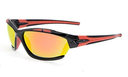 Polycarbonate Polarized Sunglass (Eyekepper Polycarbonate Polarized Sport Sunglasses For Men Women Baseball Running Fishing Driving Golf Softball Hiking TR90 Unbreakable Black Frame Red Mirror)