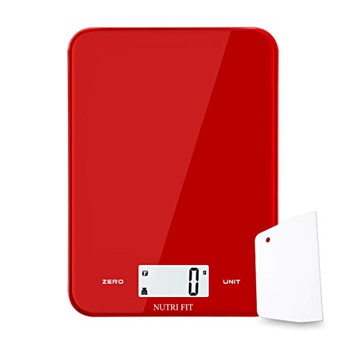 Digital Kitchen Scale Multifunction Food Scale,Baking Scale with Dough Scraper for Cooking by NUTRI FIT,Large Display,Easy to Clean,Ultra Slim,17.6lb 8kg(Red) by NUTRI FIT