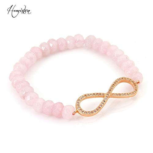Style Faceted Pink Quartz Beads with Rose Gold Color Infinity Bracelets Jewelry Gift | for Women, Men ()