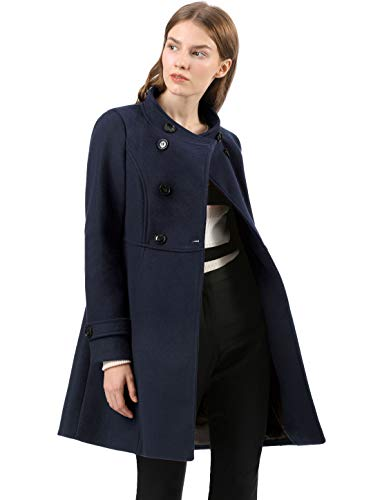 - Allegra K Women's Stand Collar Double Breasted Slant Pockets Trendy Outwear Winter Coat XS Blue