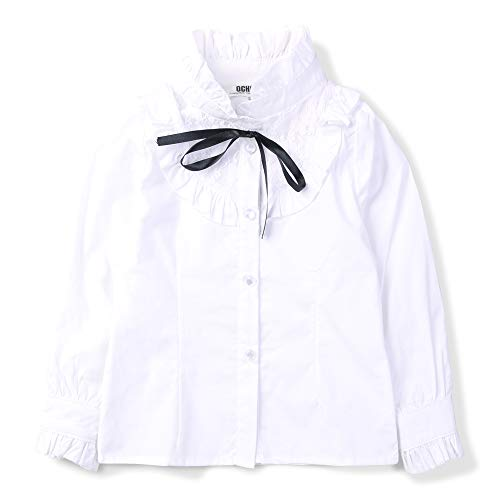 (OCHENTA Girls' Princess Lace Collar Uniform Bowknot Blouse, Long Sleeve Ruffle Shirt White US 10-11Y - Tag 150)