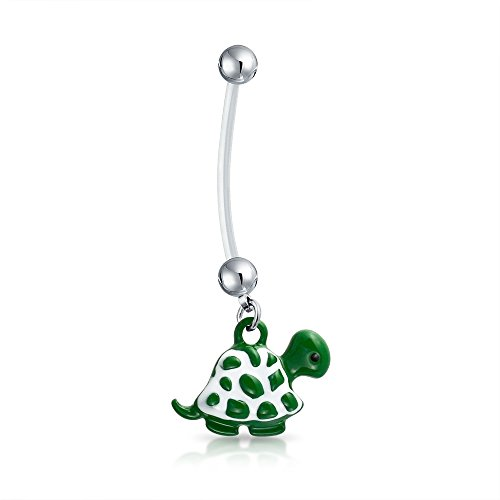 Enamel Turtle Ring - Bling Jewelry Bioflex Green Beach Turtle Dangle Bar and Ball Style Navel Belly Ring Silver Tone Surgical Steel 14G