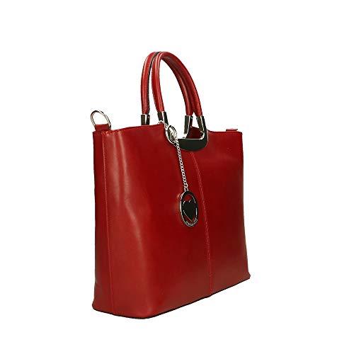 Italy In Piel Cm Mano Bolsa Borse En Made Rojo Genuina Chicca 36x27x12 De UzX8qxaqw