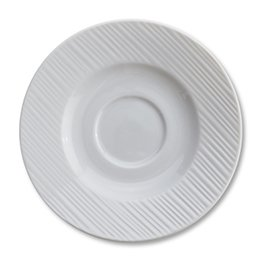 Embossed Alani, Saucer for Stacking Cup, Rim Shape, 6 1/4'', 24 per case