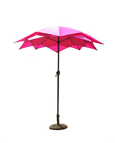 Lotus Umbrella - 8.2' Outdoor Patio Lotus Umbrella with Hand Crank - Hot Pink