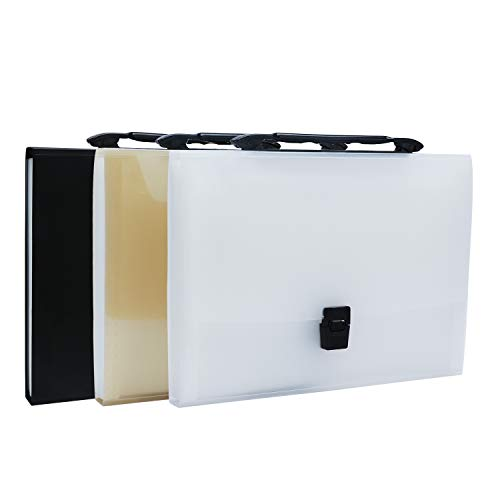 13 Pockets Expanding File Folder, 3 Pack Segarty Portable Expandable A4 Size Accordion File Organizer with Handle and Tab for Business Office Students