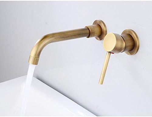 キッチン水栓 浴室の壁に取り付けられた単一のハンドル2の穴の洗面器のコックの普及した浴室の虚栄心の流しのミキサーのコックの大きい口4色 キッチンとバスルームに適しています (Color : Black, Size : Free size)