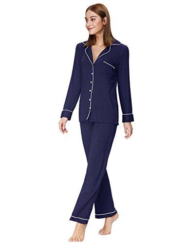 Knit Pajamas (Women Pajama Set Classic Style Soft Modal Thick Knit Nightwear Navy Blue XL ZE48-2)