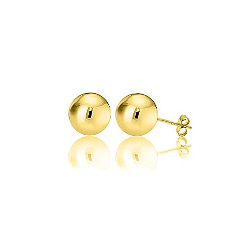 Verona Jewelers Womens Sterling Silver Post Ball Stud Earrings- Bead Ball Stud Earrings for Women 2-12MM (9) (Gold, 12) ()