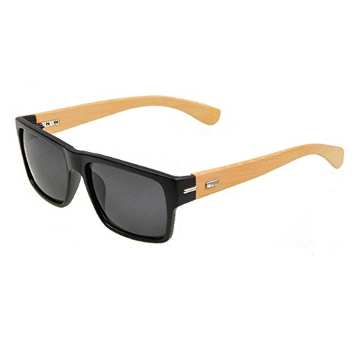 V House Mens Handmade Bamboo Wood Arms Classic Polarized Sunglasses C3 (Design View Bamboo Shades)