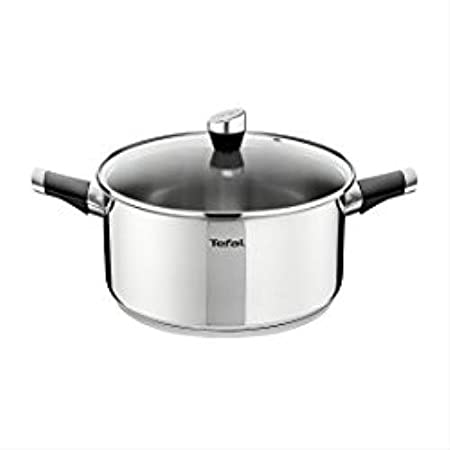 Tefal Emotion 24cm Stainless Steel Cooking Pot With Clear Glass Lid