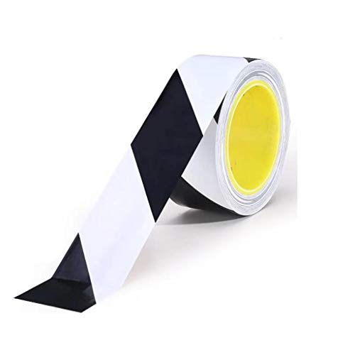SPDBAO Warning Tape Ground Tape Warning Isolation Zebra Tape Tape PVC Floor Tape (Color : Black White) (Black Tile Zebra And White Floor)