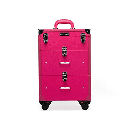 Qzny Estuche de cosméticos, Maquillaje Almacenaje Profesional Caja de Belleza Grande Rosa Rojo Rueda Universal Desmontable...
