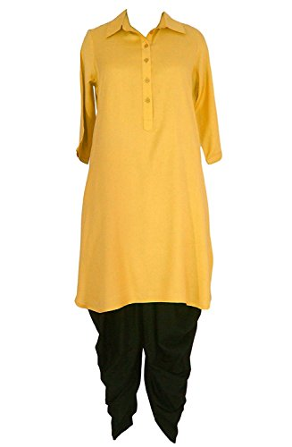 Radanya Women's Classic Collar Half Sleeve Gold Kurta and Black Dhoti Pant