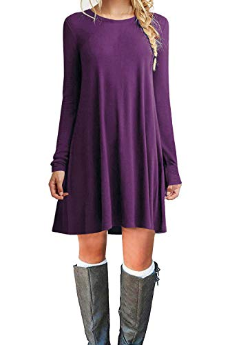 - Tinyhi Women's Casual Plain Long Sleeve Loose Swing Cotton Dress, Purple, Small