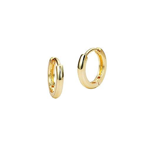 14k Yellow Gold Tiny Small 1mm Plain Huggie Children Baby Girls Hoop (Baby Yellow Earrings)