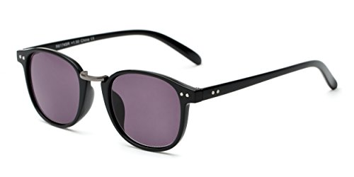 Readers.com The Silas Sun Reader +2.75 Black with Smoke Fully Magnified Sun with Rounded Metal Bridge Reading - Sunglasses Fairwind