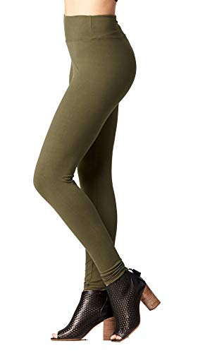 Conceited Buttery Soft High Waisted Leggings for Women in Reg and Plus - 25 Colors Full Length Army Olive Green - S/M (0-10)