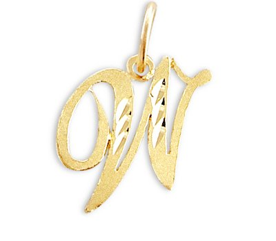 Cursive W Initial Charm 14k Yellow Gold Letter Pendant