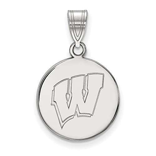 University of Wisconsin Badgers School Letter Logo Sterling Silver Disc Pendant 16x15mm