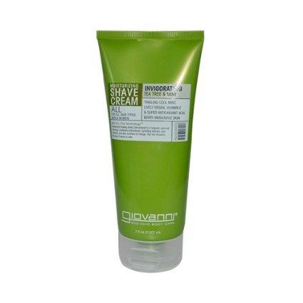 Giovanni Moisturizing Shave Cream All Skin Types Men and Women Refreshing Invigorating Tea Tree and Mint - 7 fl oz