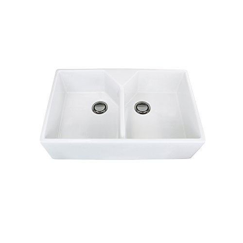 Transolid FUDT32209 Villa 31.5-in x 19.7-in x 8.7-in Double Bowl Thick Wall Farmhouse Fireclay Kitchen Sink, White Double Bowl Fireclay Kitchen
