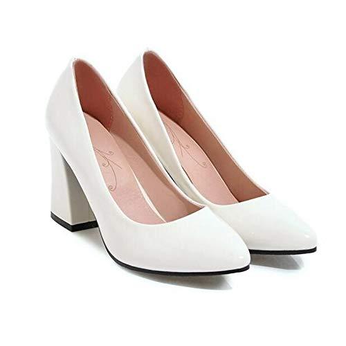 ZHZNVX Tacones Mujer Bomba Primavera de Rosa Pink Blanco Zapatos Negro PU Grueso Tacón Poliuretano básica 8rxa8qY