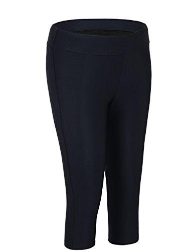 Hilor Women's UV Rash Guard Pants Crop Swim Leggings Sports Capri Tights 14 Black 1 by Hilor (Image #1)