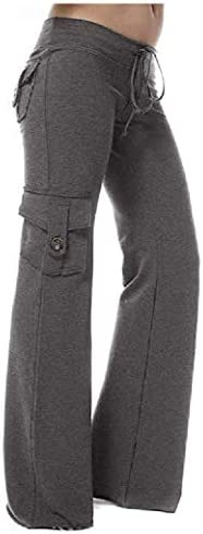 Womens Wide Leg Drawstring Solid Multi-pocket Slim Fit Jogger Sweatpants