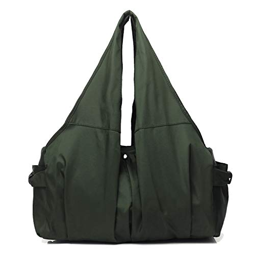 Shoulder Bag for Women, Waterproof Shopping Lightweight Work Purse and Handbag Travel Tote Oxford Nylon Large Capacity Hobo (8022-Army Green)
