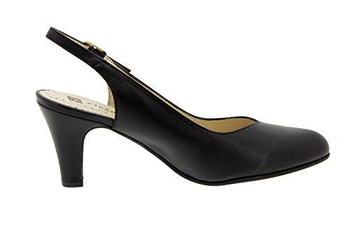 Calzado mujer confort de piel Piesanto 6210 salón fiesta zapato cómodo ancho Piel Negro