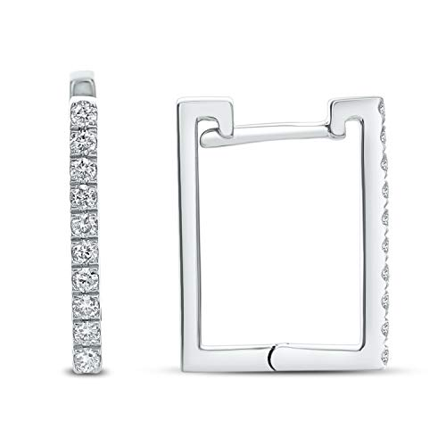 Diamond Couture 14KT White Gold Square Shaped Diamond Hoop Earring (0.20 Cttw I-J Color, I1-I2 Clarity), Gift for Her ()