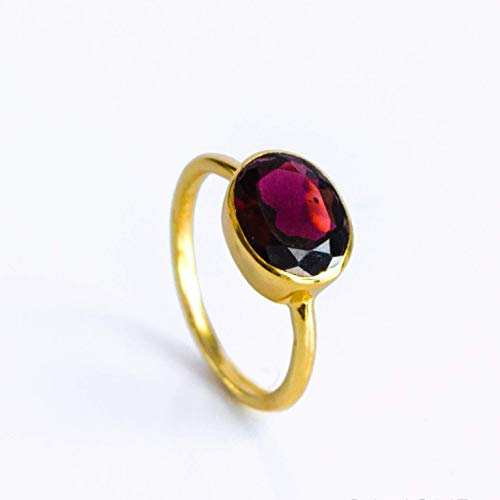 - Oval Garnet Quartz Bezel Set Ring in Sterling Silver, January Birthstone Ring