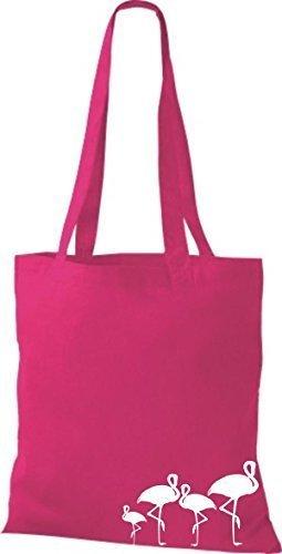 ShirtInStyle Bolso de tela Bolsa de algodón lustige Animales Flamingo Fucsia